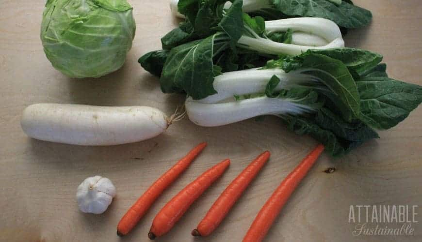 cabbage, daikon, bok choy, garlic, carrots on a wood background
