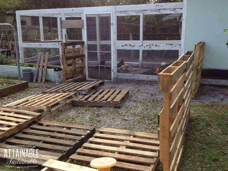 Building a pallet chicken run with pallets on ground and standing