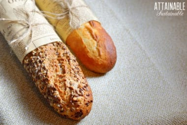 two loaves of crusty bread side by side, one with seeds