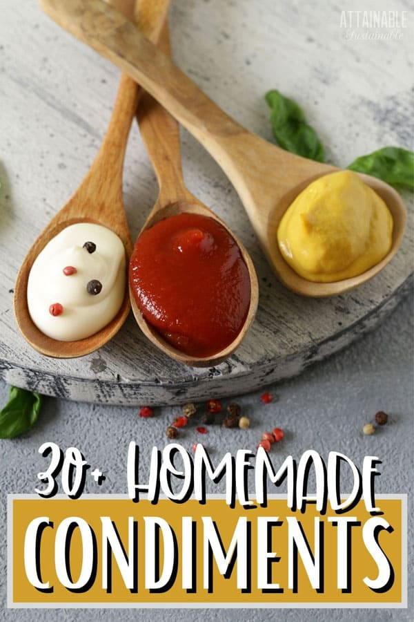 mayo, ketchup and mustard on wooden spoons