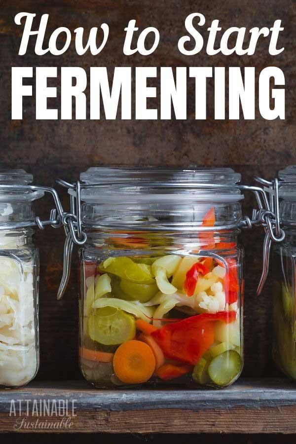 fermented veggies in glass jars