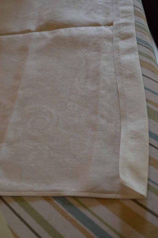 ironed hem: step in making a linen bread bag