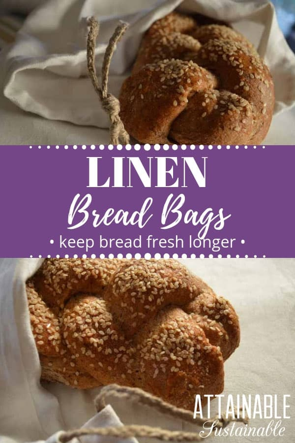 loaf of braided bread in a linen bread bags