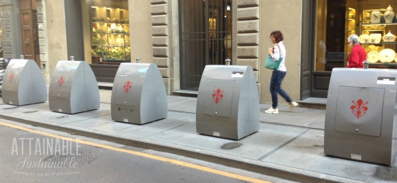 recycling containers in Italy