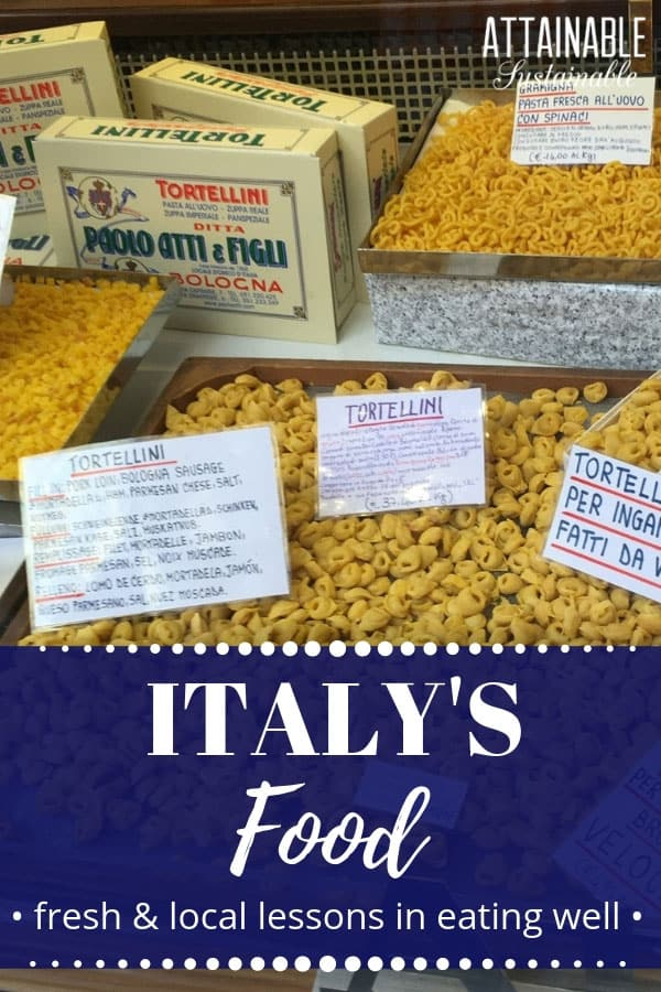 Food in Italy -- GOOD FOOD -- takes center stage. From pasta to parmesan and prosciutto, the food in Italy is quite often produced locally. Stop at the pasticceria, the butcher, the fresh market; you'll have everything you need to have a fresh feast produced right in the region. Food in Italy is as good as you imagine! #travel #italy #food