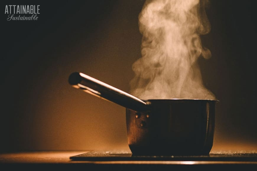 pot on a stove with steam rising - boiling water = life skills!
