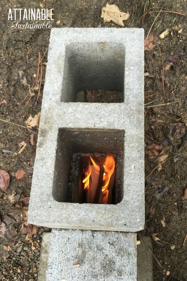 fire burning in rocket stove