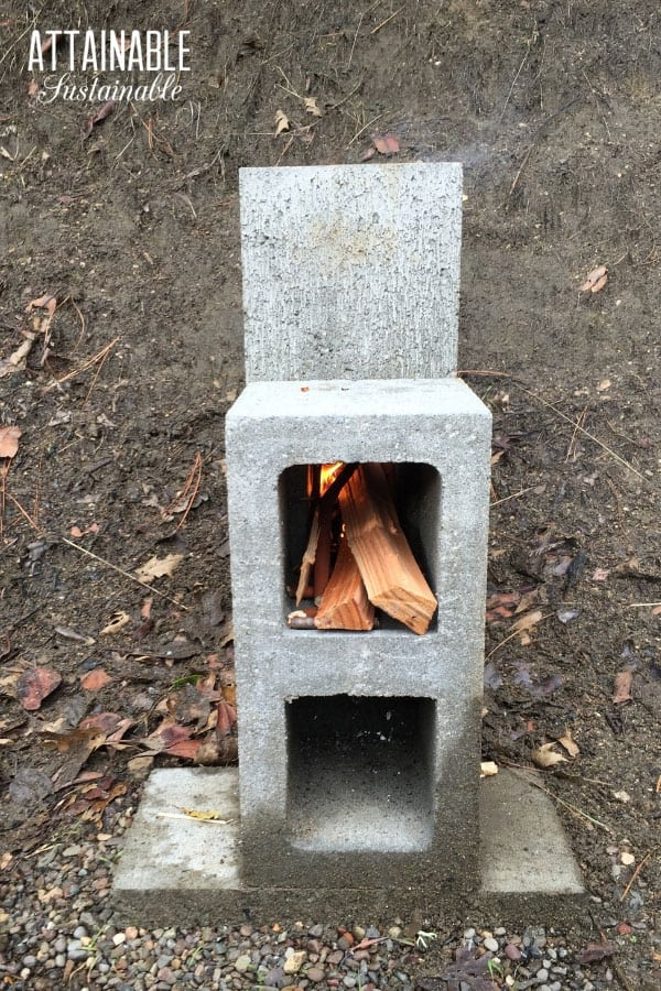 wood stacked inside a rocket stove