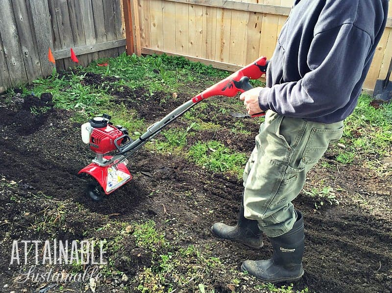 A small, lightweight rototiller can be used in unconventional ways around the homestead.