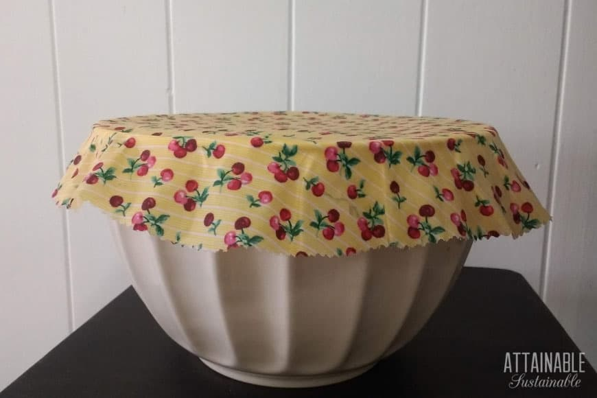 yellow beeswax wraps on a white bowl