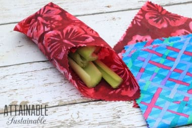 diy beeswax wrap with celery, more beeswax wraps alongside