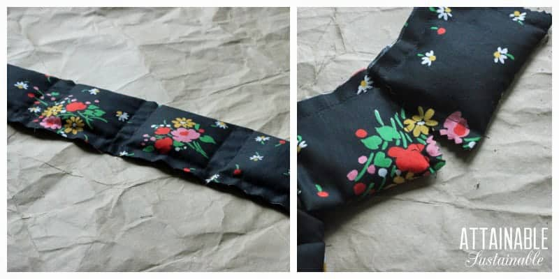 cutting apart black floral fabric to make individual moisture absorber