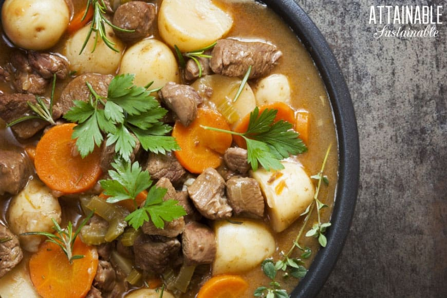 home cooked Irish stew with potatoes, carrots, meat