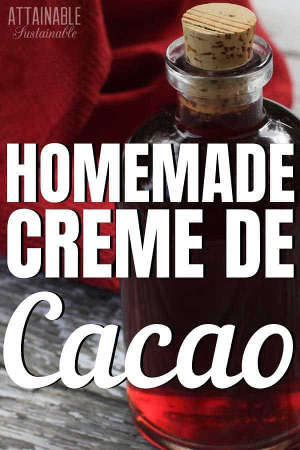 HOMEMADE creme de cacao in a glass bottle with a cork