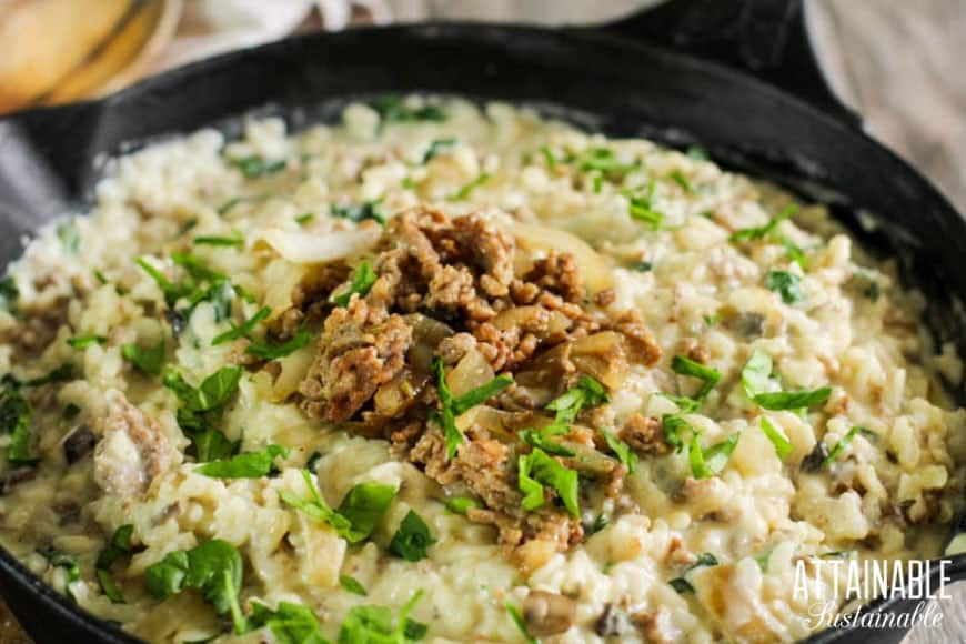 creamy mushroom risotto recipe in a cast iron pan