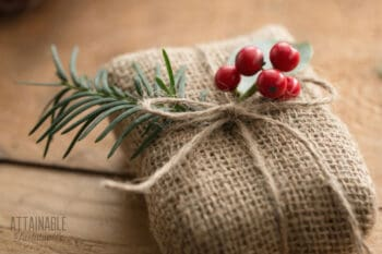 burlap wrapped gift