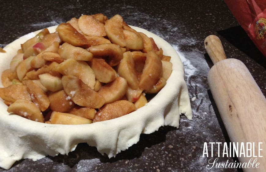 making apple pie. raw dough in pie plate with cinnamon coated sliced apples