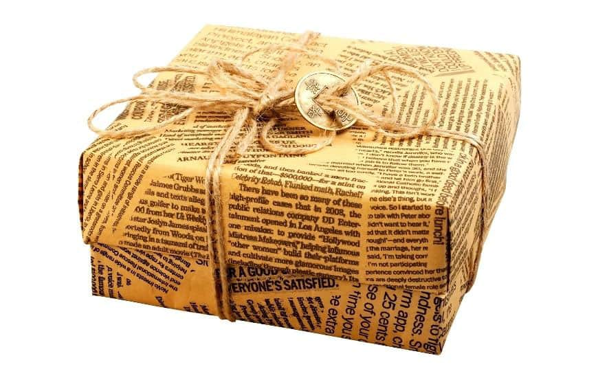 box wrapped with newspaper