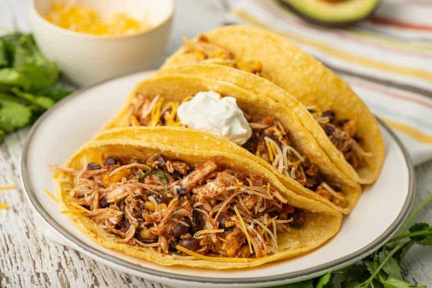 three shredded chicken tacos on a white plate
