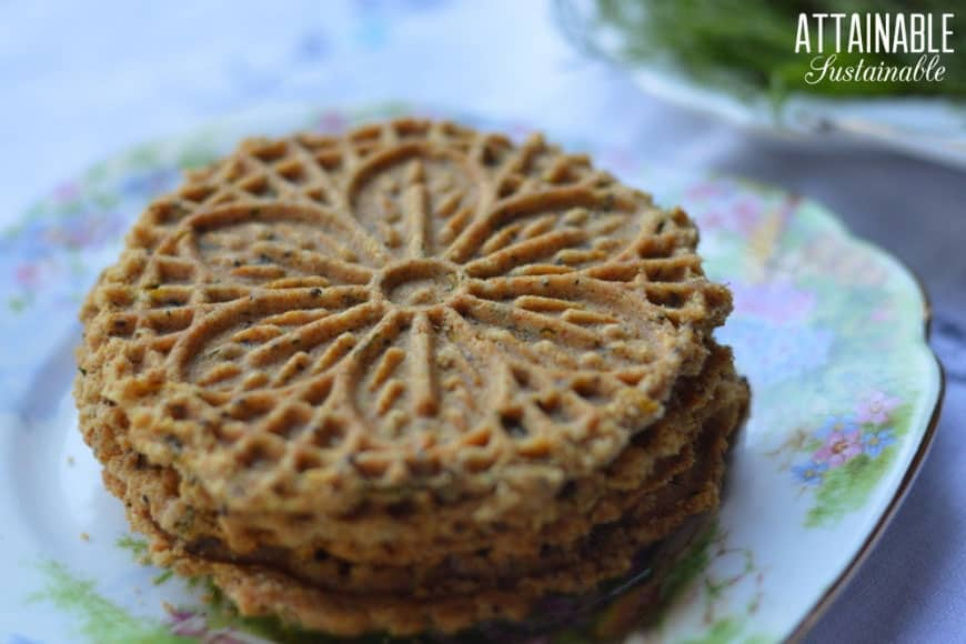 pizzelle recipe made and plated on a floral plate