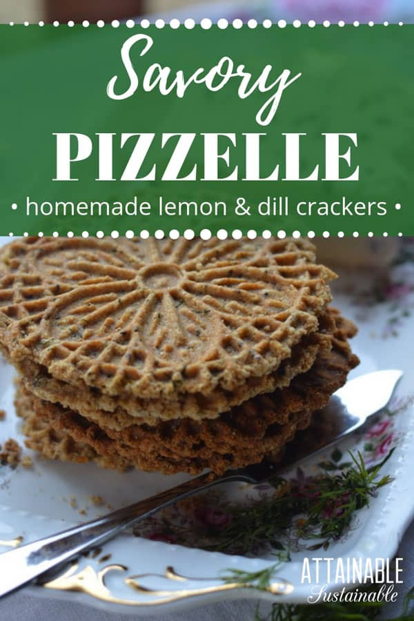 savory pizzelle crackers on a floral plate