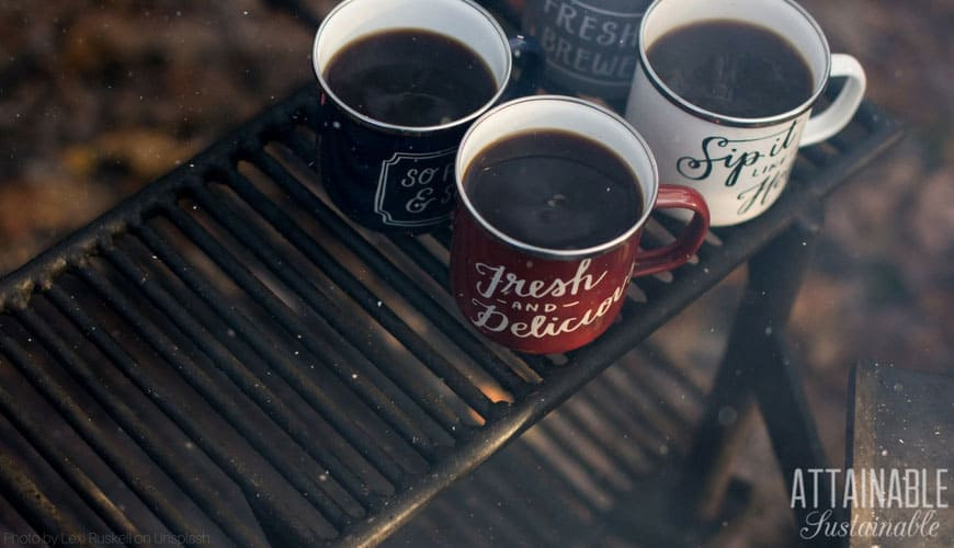 coffee mugs on a grill for survival camping