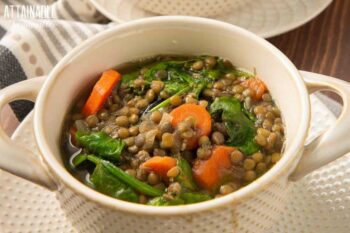 vegan lentil soup in a white bowl