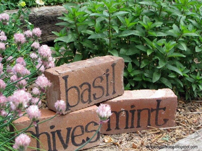 DIY garden markers made from brick