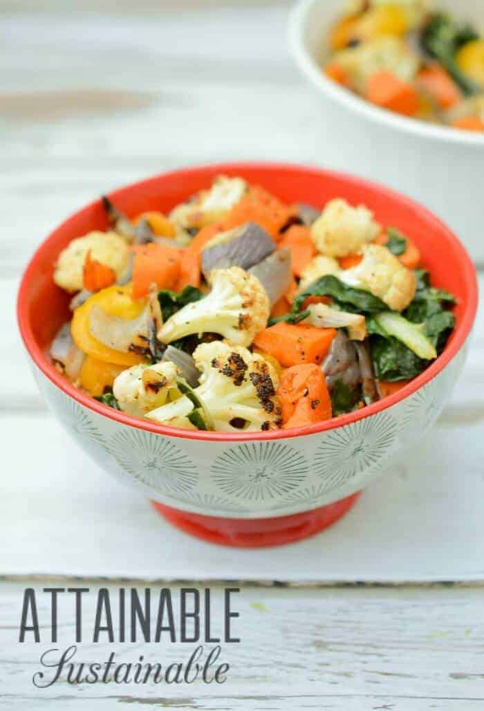 These roasted root vegetables are a great way to offer up an easy side dish with dinner. Toss them with kale fresh from the garden and