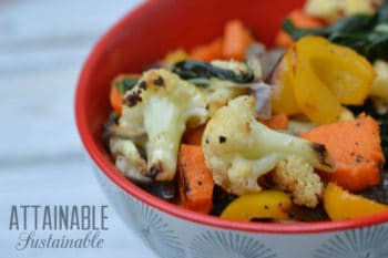 roasted vegetables in a red bowl