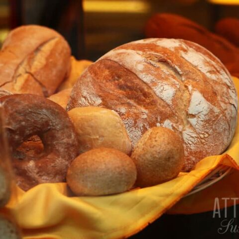 French bread and rolls in a bakery