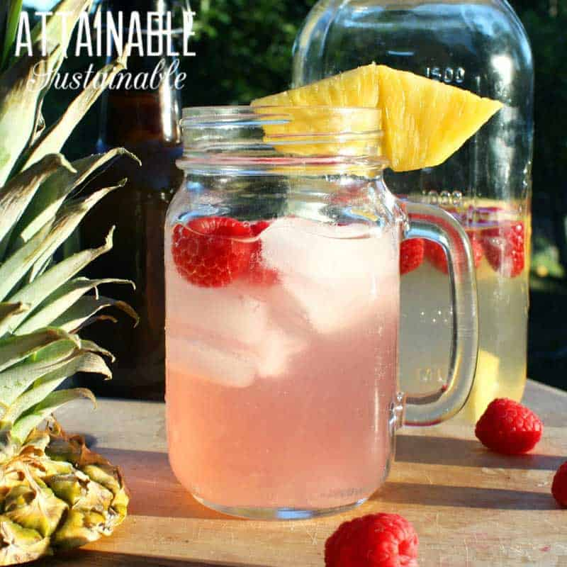 glass mug of water kefir with raspberries and pineapple