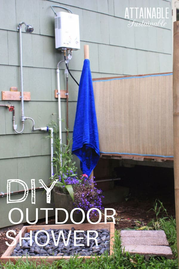 It's not difficult to install a tankless water heater to make an outdoor shower, making for easy clean up after gardening and other messy jobs. With some simple plumbing skills and a portable propane tank, you can create an outdoor shower in your garden area or near the pool