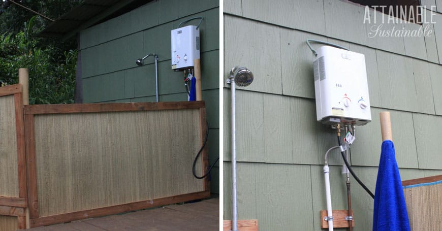how to make an outdoor shower - attainable sustainable