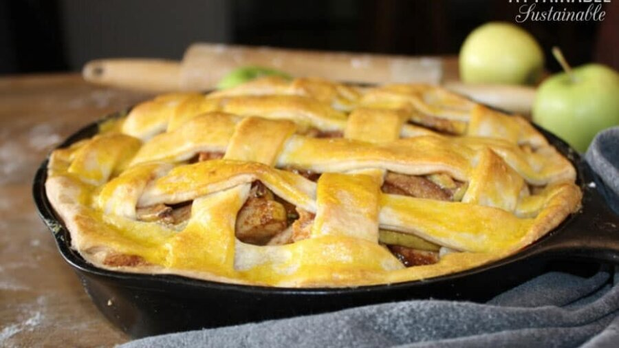 Cast iron skillet apple pie with a nicely browned lattice top crust