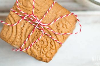 square ginger cookies tied with red and white twine