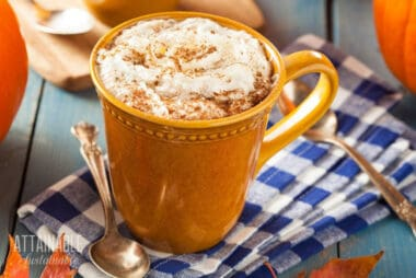 pumpkin spice latte in a brown mug