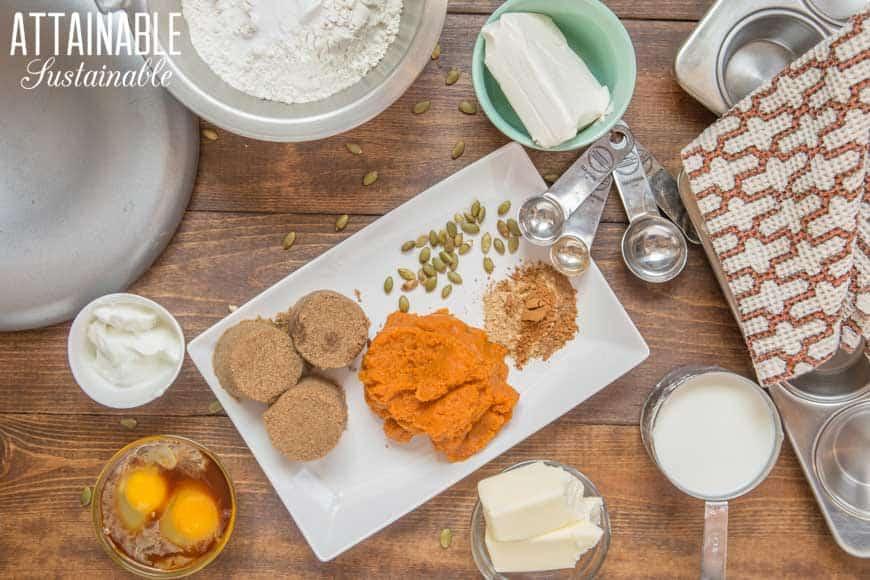 ingredients for pumpkin cheesecake muffins