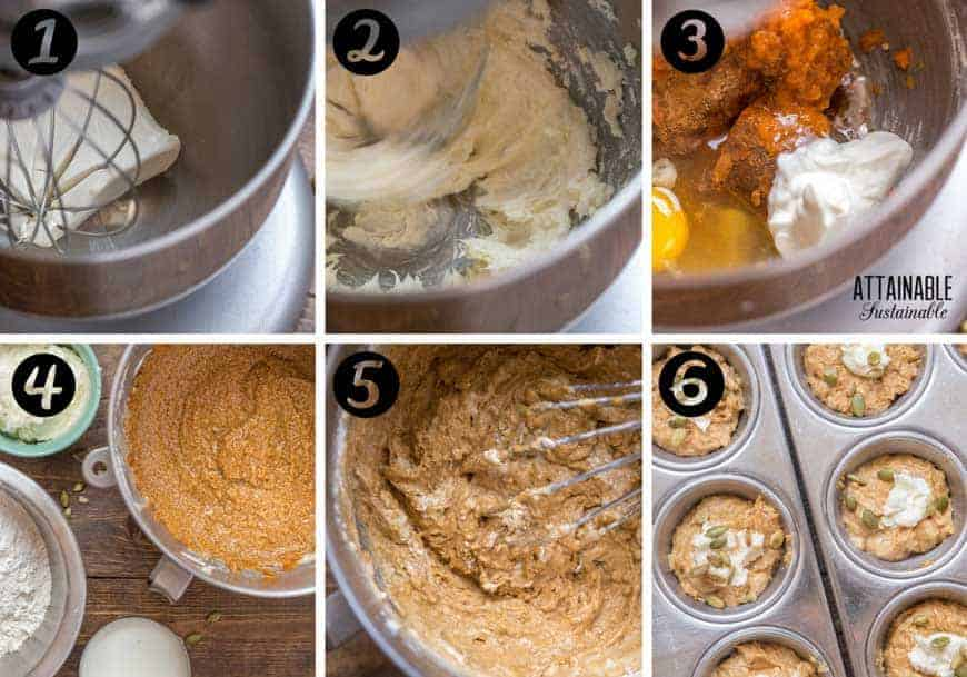 Mixing pumpkin cheesecake muffins in mixer - process photos