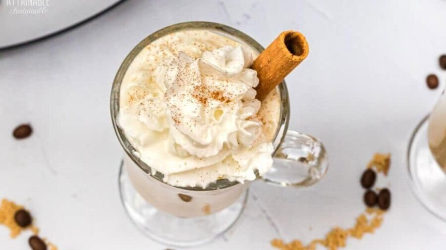 glass mug with a drink, topped with whipped cream and a cinnamon stick