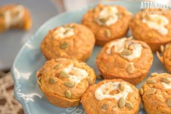 starbucks pumpkin muffins on a blue plate