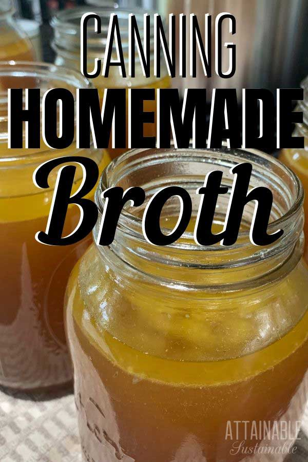 homemade broth in glass jars