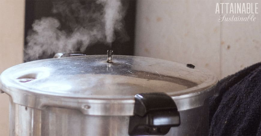 pressure canner with steam emerging
