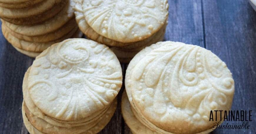 round homemade sugar cookies with embossed rolling pin design