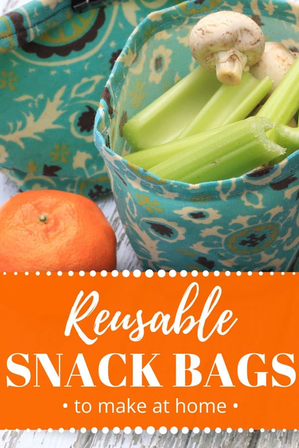 DIY reusable snack bags, teal print from above