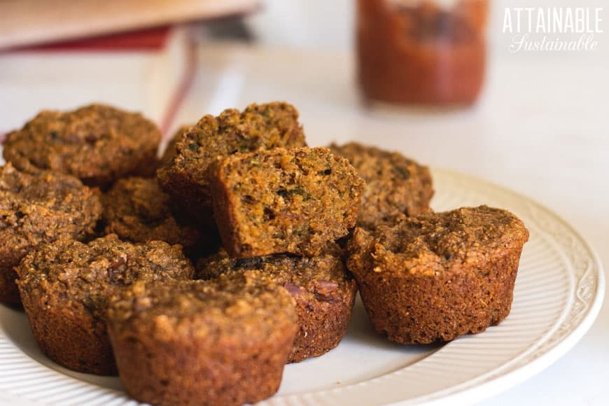 vegan sweet potato muffins on a white plate