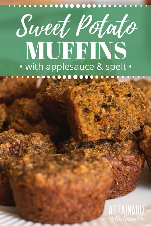 These vegan sweet potato muffins are made with spelt flour and applesauce. There's so much goodness packed into one little muffin! Made with wholesome ingredients, these sweet potato muffins have a natural sweetness from flavorful sweet potatoes. They're so great, some people call them morning glory muffins! #breakfast #snack #muffins