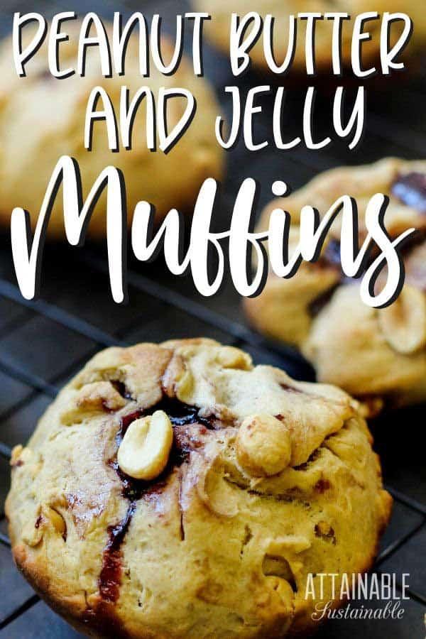 close up of PB&J muffins