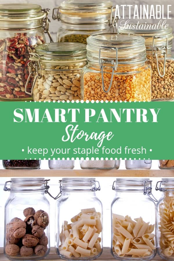 glass jars full of pantry staples