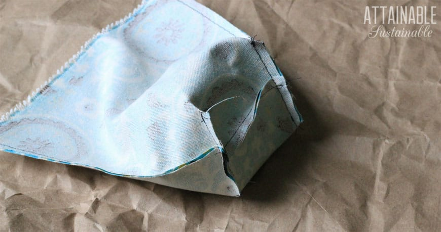 making reusable snack bags with teal fabric - bottom seam, inside out